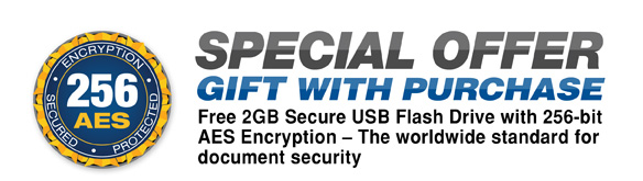 Special Offer Gift With Purchase* Aleratec 2GB Secure USB Flash Drive with 256-bit AES Encryption