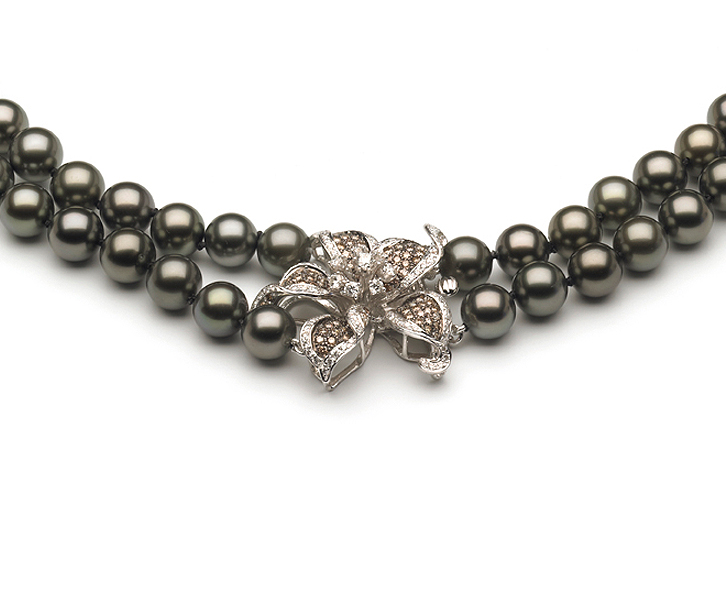 8 X 10mm Tahitian Pearl Necklace Double Strand With