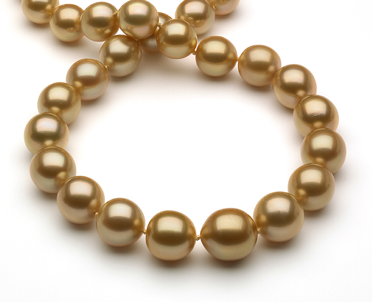 12 X 15mm Golden Pearl Necklace South Sea With Gold