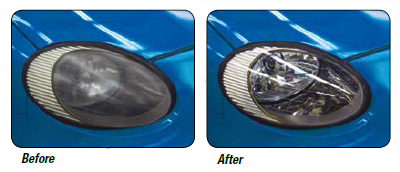 The before and after pictures show how the 3M Lens Renewal Kit restores headlight lenses.