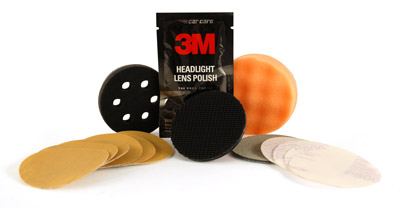 The 3M Headlight Lens Restoration Kit works with a drill to restore yellow, cloudy headlight lenses.