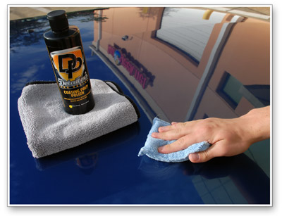 Detailer's Coating Prep Polish can be applied by hand or machine