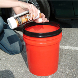 Add 1 ounce of DP Rinseless Wash & Gloss to 2 gallons of water to create a slick car wash solution.