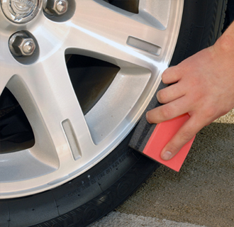 Wipe on Detailer's Pro Series DP Gloss Tire Gel with a foam tire applicator.