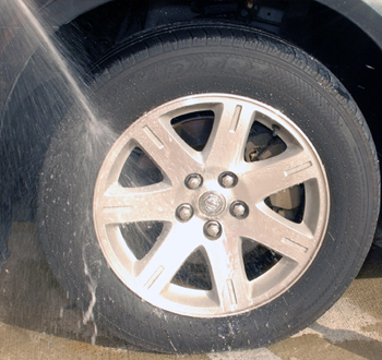Spray the wheel with water before using Detailer's Pro Series DP Wheel Cleaner.