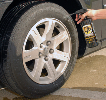 Spray the wheel and tire liberally with Detailer's Pro Series DP Wheel Cleaner.