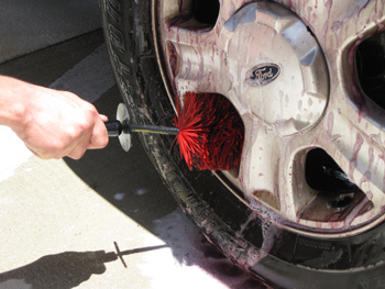 Use a Daytona Speed Master or other soft bristled wheel brush to agitate the wheel.