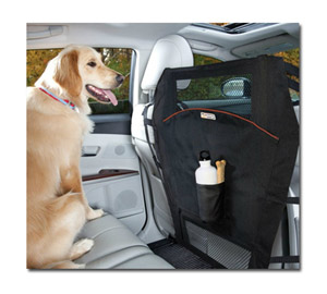 The Kurgo Backseat Barrier keeps your pet safely in the back seat.