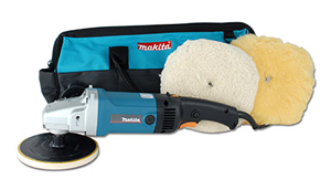 The Makita Circular Polisher includes 2 wool pads and a nylon storage bag.