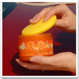 Use a soft foam or microfiber applicator to apply Orange Crush Wax.