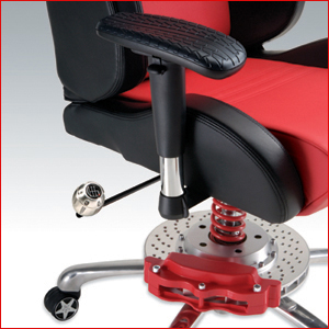PitStop GT Series Office Chair has racing inspired brake caliper and metal racing shocks.