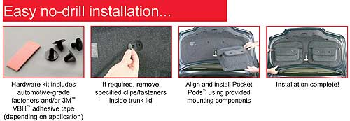 Pocket Pods install without drilling and they can be removed any time.