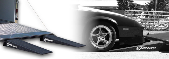 Race Ramps make it easy to load a vehicle into a trailer!