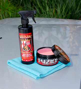 Wolfgang Deep Gloss Spritz Sealant works well with Wolfgang Fuzion Wax.