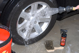 Rinse the wheel and tire well.