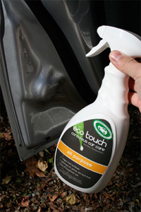 Eco Touch All Purpose Cleaner is a plant-based car cleaner.