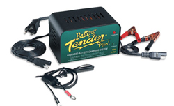 The Battery Tender Plus is a 1.25 amp battery charger designed to fully charge a battery and maintain it at proper storage voltage without the damaging effects caused by trickle chargers.