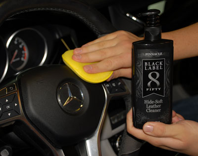 Black Label Hide-Soft Leather Cleaner works great on vinyl surfaces too