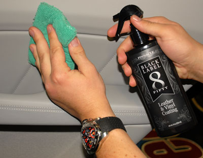 Black Label Leather & Vinyl Coating protects interior surfaces for months, not weeks