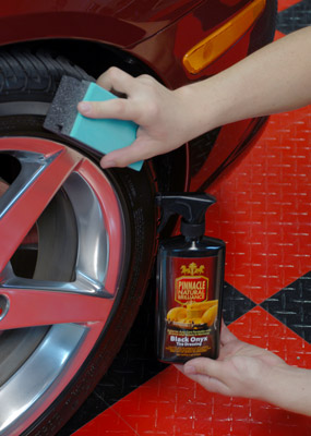 Pinnacle Black Onyx Tire Dressing provides a rich, natural looking shine on tires and it will not sling!