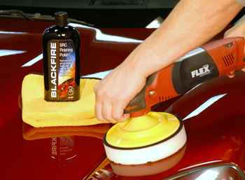 BLACKFIRE SRC Finishing Polish being applied with the FLEX PE14-2 Rotary Polisher.