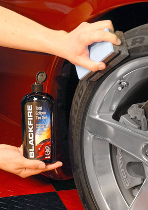 BLACKFIRE Total Eclipse Tire Gel protects and restores tires.