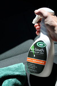 Eco Touch Carpet and Upholstery Cleaner cleans car interior.