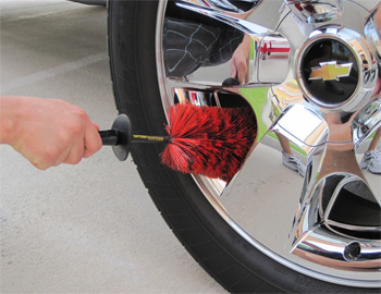 Clean chrome wheels with the Daytona Speed Master Wheel Brush.