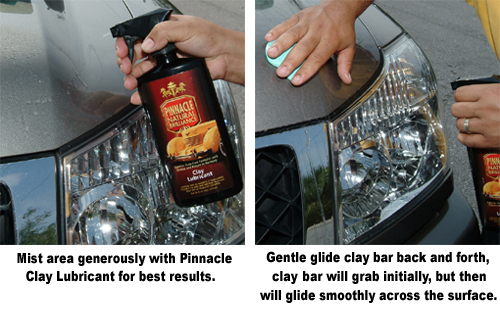 Mist the paint generously with Pinnacle Clay Lubricant before using detailing clay.
