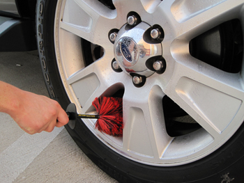 Clean alloy wheels with the Daytona Speed Master Wheel Brush and a clear coat-safe wheel cleaner.