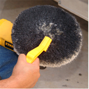 Use a Pad Conditioning Brush to clean wool pads.