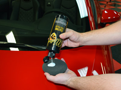 Apply Coating Prep Polish with a soft foam applicator