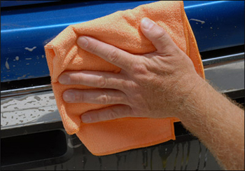 Wipe off Diamondite Bug Eraser with the Mango Breeze Towel.