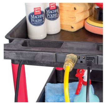 Griots Garage Rolling Utility Cart features 3 power outlets!