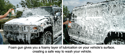 Foamaster foam gun at work on a Hummer H2