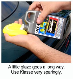 Use Klasse High Gloss Sealant Glaze very sparingly to prevent streaking and gumming. If this happens, moisten a microfiber towel with Wolfgang Deep Gloss Spritz Sealant or water.