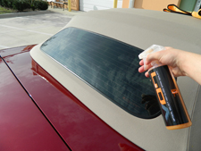 Chemical Guys Hybrid V7 Spray Sealant Detailer protects clear vinyl convertible top windows.