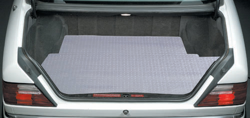 The Lloyd RubberTire Cargo Mat provides clear carpet protection.