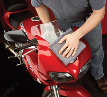 Use the Kozak Motorcycle Dry Wash Cloth to clean your bike any time, anywhere!