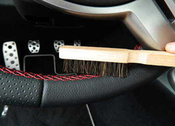 Natural Horse Hair Interior Detail Brush gently cleans steering wheels