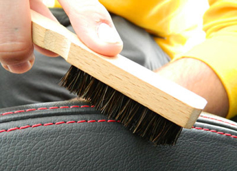 Natural Horse Hair Interior Detail Brush gently cleans leather stitching