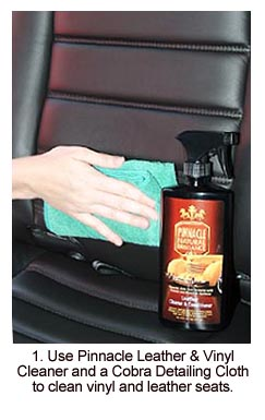 Cleaning with Pinnacle Leather & Vinyl Cleaner is the first step toward beautiful, supple leather upholstery.