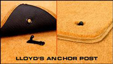 Lloyd Ultimat� Custom Carpet Mats have anchor devices to hold them in place