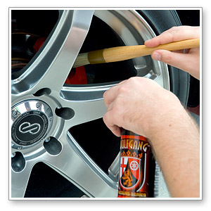 Clean brake calipers with the Clean Wheel Lug Nut Brush. The long handle makes it easy to reach the brake components.