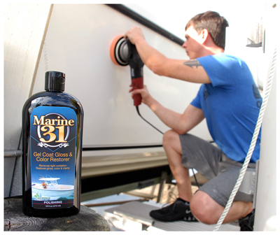 Marine 31 Gel Coat Gloss & Color Restorer removes oxidation and yellowing with virtually no effort!