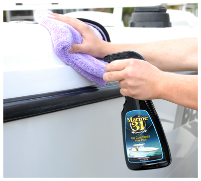Marine 31 Gel Coat Spray Wax Plus provides durable UV protection and a high gloss, slick finish