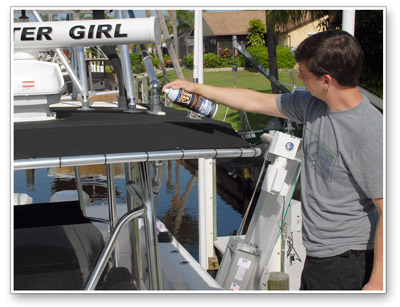 Marine 31 T-Top Fabric Protectant with SunBlock repels dirt, moisture and airborne contaminants