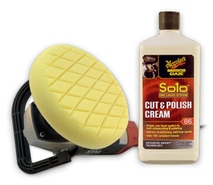 Meguiars Mirror Glaze Solo Cut & Polish Cream removes swirls, scratches, and holograms with your rotary polisher.
