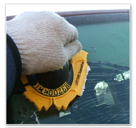 The MINI IceDozer Ice Scraper has a flat blade for scraping away ice, frost, and snow.