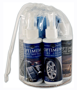 The Optimum Car Care Sampler Kit includes four essential Optimum products: Car Wax, Car Wash, Protectant Plus, and Tire Shine.